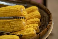 满盘新鲜的甜有机玉米蒸了立即可食 在桌上的准备的煮熟的甜玉米 库存照片