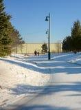 滑冰在一串冰冷的足迹的父亲和孩子 免版税图库摄影