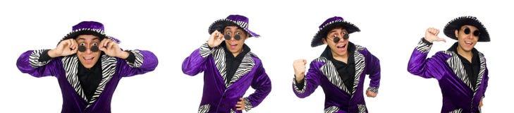 滑稽的人佩带的阔边帽和玻璃 免版税库存照片
