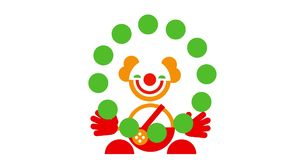 滑稽的逗人喜爱的微笑的玩杂耍的小丑象  库存例证