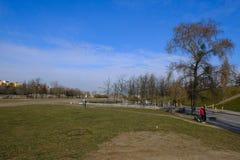 柏林市公园生活方式,健康,跑步的走,露天 免版税图库摄影
