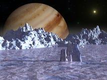 木星月亮欧罗巴的表面 皇族释放例证