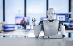 机器人在桌后坐 向量例证