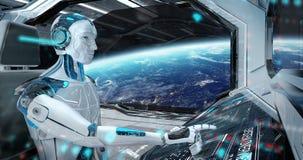 机器人在飞行一艘白色现代太空飞船有在空间3D翻译的窗口视图的控制室 库存例证