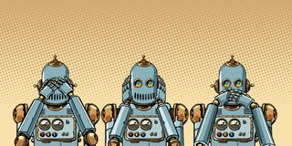 机器人 我什么都什么都什么都不看见,听见,说 向量例证