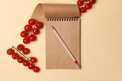 有卡拉服特板料的笔记本,笔记的纸,写食谱 免版税库存照片
