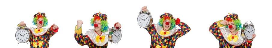 有在白色隔绝的时钟的小丑 免版税图库摄影