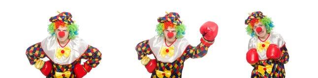 有在白色隔绝的拳击手套的小丑 免版税库存图片