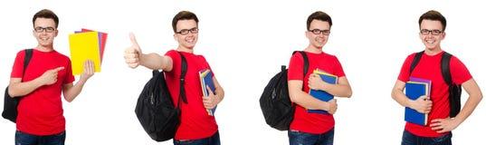 有在白色隔绝的背包的年轻学生 免版税库存照片