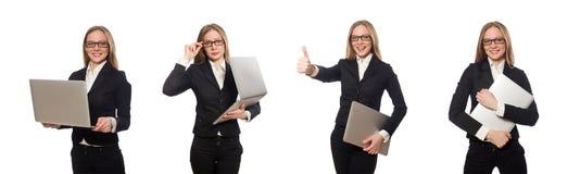 有在白色隔绝的膝上型计算机的俏丽的办工室职员 免版税库存照片