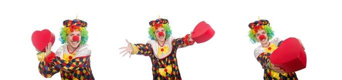有在白色隔绝的giftbox的小丑 免版税库存照片