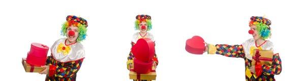 有在白色隔绝的giftbox的小丑 库存照片