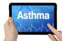 有医疗背景和诊断哮喘的片剂计算机 图库摄影
