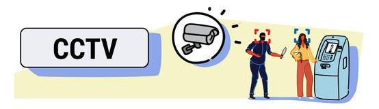 有撤出从ATM监视系统的刀子危险强盗攻击的妇女的照相机录音被掩没的窃贼金钱 皇族释放例证
