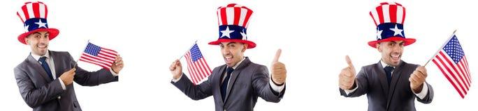 有美国帽子和旗子的人 免版税库存图片