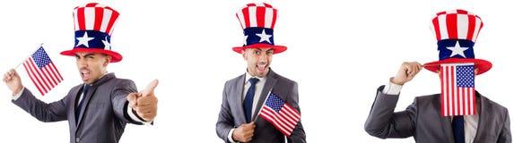 有美国帽子和旗子的人 库存图片