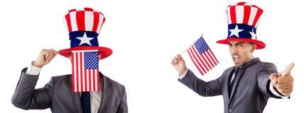 有美国帽子和旗子的人 免版税图库摄影