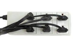 有被连接的力量小条的多插口与一束插座 免版税库存照片