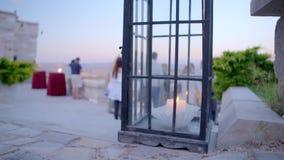 有蜡烛的美丽的灯笼 股票录像