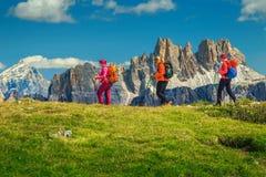 有背包的愉快的妇女徒步旅行者走在山,白云岩,意大利的 图库摄影