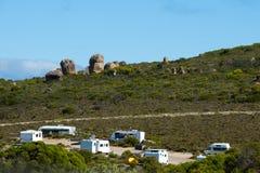有蓬卡车野营地 图库摄影