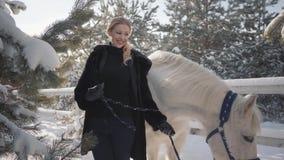 有良种白马的画象逗人喜爱的白肤金发的女孩在篱芭关闭附近 使用与她的白马的年轻女人 股票视频