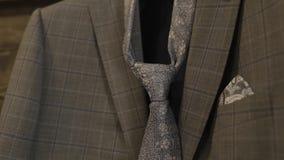 有领带特写镜头的时兴的时髦的夹克 股票录像