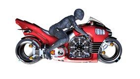 有骑科学幻想小说自行车,在白色背景隔绝的红色未来派摩托车的妇女的盔甲的骑自行车的人女孩,侧视图,3D 库存例证