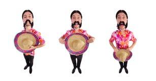 有阔边帽帽子的滑稽的墨西哥人 库存照片
