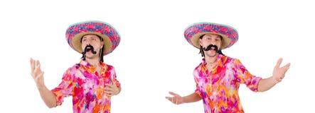 有阔边帽的滑稽的墨西哥人在概念 免版税库存图片