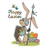 有长矛和盾的复活节兔子骑士 库存例证