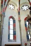 最高限额 里面教会 中世纪cistercian修道院废墟在特兰西瓦尼亚 免版税库存图片