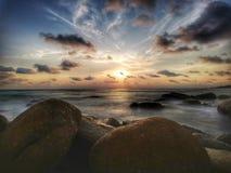 暮色海风景日落长的曝光在泰国 库存图片