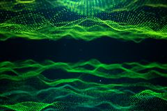 抽象数据技术 与微粒,小点的数字风景 网际空间技术 波浪表面包括 向量例证