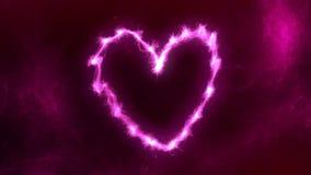 抽象洋红色心脏火焰作用 库存图片