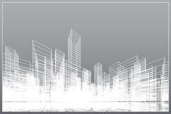 抽象wireframe城市背景 透视3D回报大厦wireframe 向量 库存例证