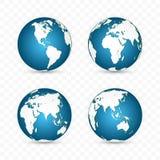 接地地球 世界地图集合 与大陆的行星 也corel凹道例证向量 皇族释放例证