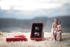 情人节爱概念 拥抱在爱的已婚夫妇,夫妇和前婚礼背景概念小雕象  库存照片