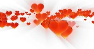 情人节生日摘要背景,在白色的飞行的切好的红色玻璃心脏 Loopable 4k 3d翻译 影视素材