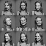 情感妇女的面孔Serie  库存图片