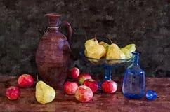 成熟苹果的梨 秋天收获静物画 在纸的绘的湿水彩 天真艺术 抽象派 图画水彩 库存图片