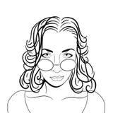 戴眼镜的妇女 画象剪影 向量 免版税库存照片
