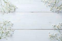 春天背景,在蓝色木桌上的花框架 横幅大模型为妇女或母亲节,复活节,春天假日 平的位置, 库存照片