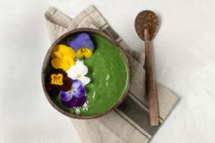 春天饮食,身体戒毒所,健康早餐绿色圆滑的人碗 免版税库存图片