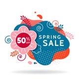 春天销售横幅,邀请海报,五颜六色的广告飞行物 库存例证