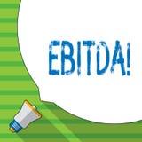 显示Ebitda的概念性手文字 企业照片陈列的收入,在税被测量评估公司前 免版税库存图片
