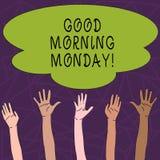 星期一显示早晨好的概念性手文字 企业照片文本愉快的阳精力充沛的早餐 库存例证