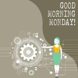 星期一显示早晨好的概念性手文字 陈列愉快的阳精力充沛的早餐的企业照片 皇族释放例证