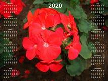 日历在2020年 皇族释放例证