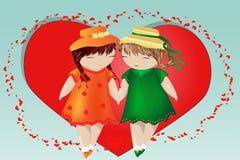 日凹道愉快的例证s华伦泰 一个对心脏的背景的女孩 同性女同性恋的爱的概念,一个对妇女 库存例证